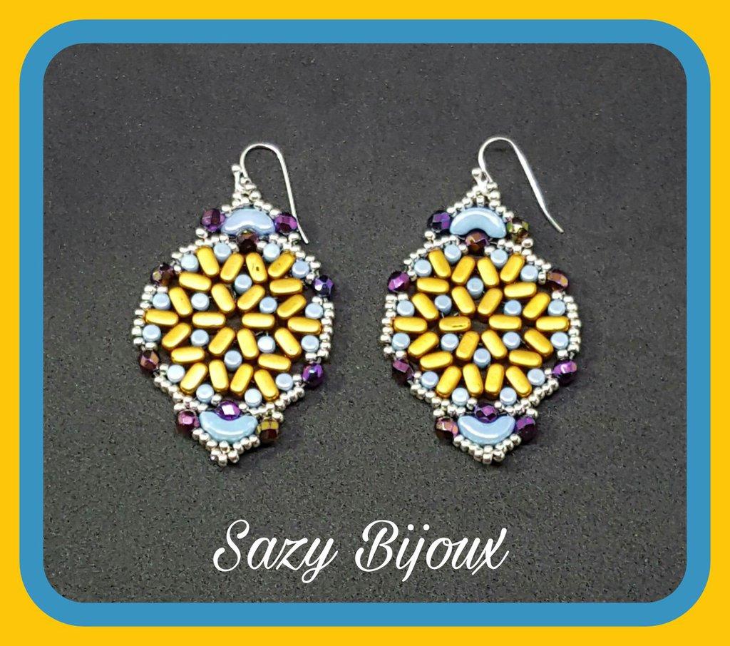 PUCAS: Orecchini in tessitura di Perline Par Puca e cristalli