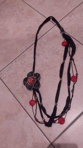 Collana Rosso Flower Dec