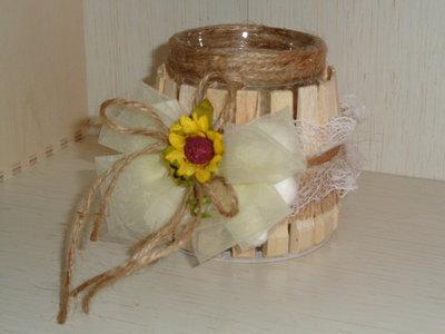 portacandele vetro con mollette legno bomboniera segnaposto artigianale con 5 confetti e candela