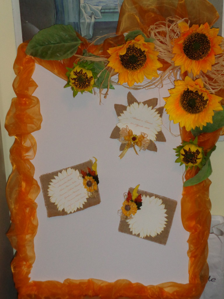 tableau marriage girasoli raffia juta colore arancio/giallo