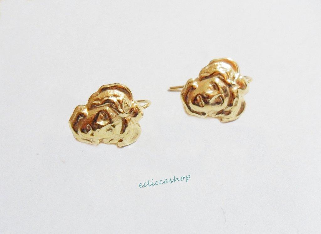 """Base orecchini in Ottone """"Testa di medusa"""" colore oro 1 coppia"""