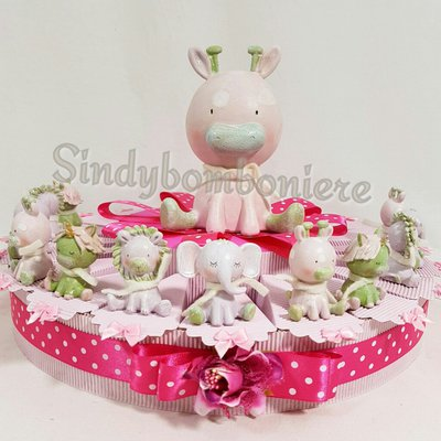 Torta bomboniera battesimo bimba animaletti misti avatar confetti rosa bigliettino