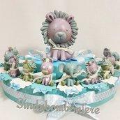 Torta bomboniera battesimo bimbo animaletti misti avatar confetti rosa bigliettino