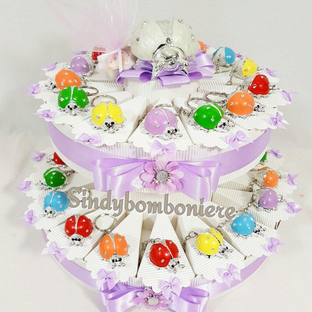 Torta bomboniera coccinelle portachiavi colorate battesimo bimba confetti inclusi