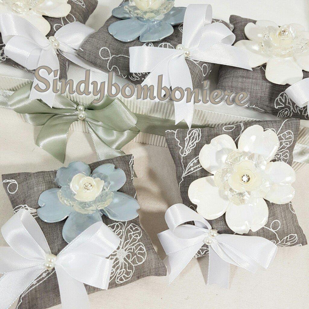 Sacchetti bomboniere fiore cristallo e ceramica confezionati originali matrimonio, cresima