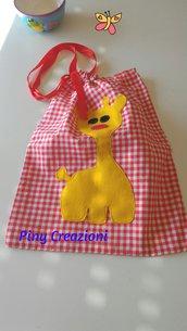 Zainetto di cotone rosso porta merenda per bambini