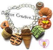 Bracciale Pasticceria - biscotti, muffin, cupcake, gelato, torta menta e cioccolato, waffle, cornetto e donut