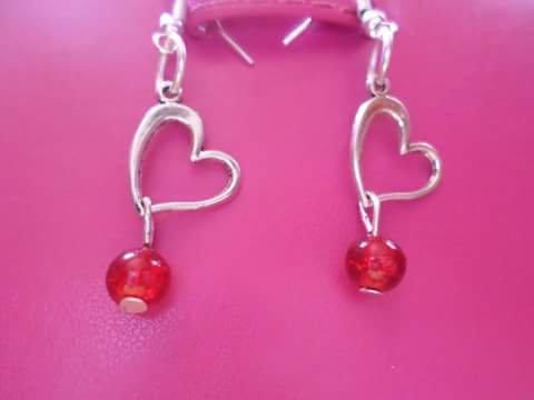 orecchini cuore e perle rosse