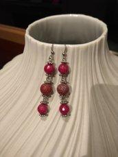 Orecchini pendenti rosso rubino