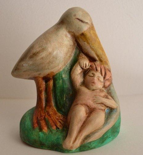 Cicogna con neonato dim.9 x10,5 cm prodotto artigianale