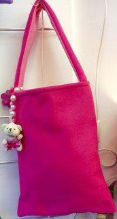 Borsa per bambina in pannolence rosa con orsetto