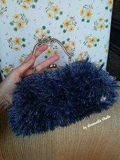 Borsetta lana  blu effetto pelliccia