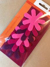 APPLICAZIONI FELTRO fiori fucsia rosa prugna - 6 pz
