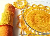 """Set da tavola """"Single Sun"""" realizzato a crochet in puro cotone - SPESE DI SPEDIZIONE GRATIS"""