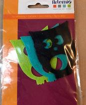 APPLICAZIONI FELTRO gufo gufi gufetti verde nero azzurro - 3 pz