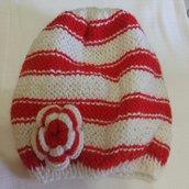 cuffia e sciarpa  bianco e rosso per bambina
