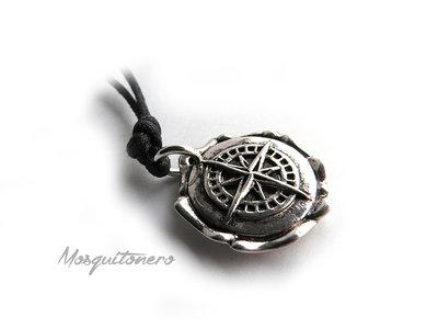 Collana Rosa dei venti o Bussola nautica anchor marinaio mare colore argento unisex