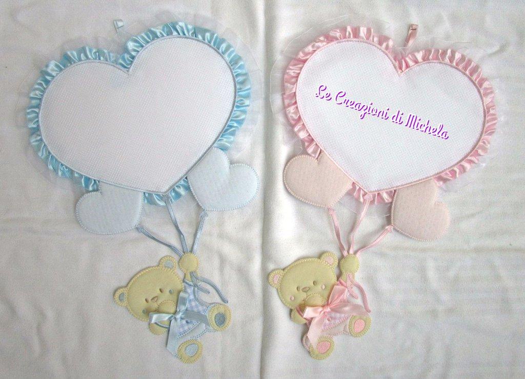 """Fiocchi nascita Cuore con orsetto  """"rosa""""+ricamo nome punto croce"""