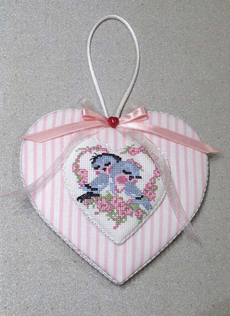 """Addobbo a forma di cuore """"Uccellini innamorati"""""""