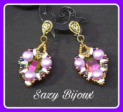 Orecchini LOVE in tessitura di perline con Ovale in Cristallo Multicolor