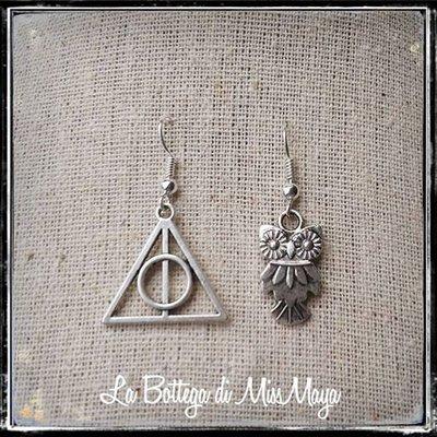Orecchini Harry Potter Doni della Morte e Civetta