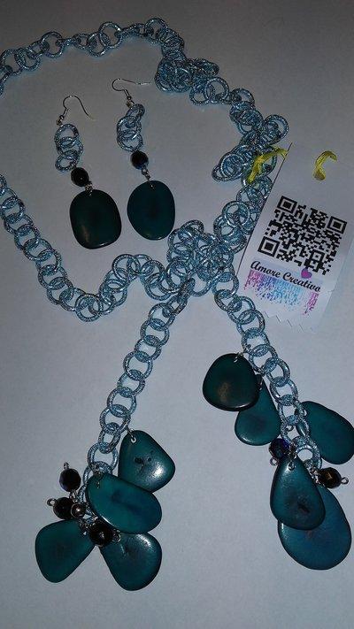 parure collana /pendenti serie TAGUA azzurra uno