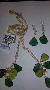 parure collana /pendenti serie TAGUA verde