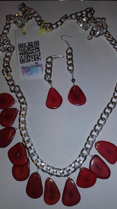 parure collana pendente serie TAGUA rosso