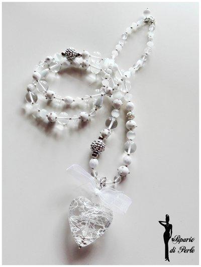 Collana bianca (total white) con splendido cuore pendente e perle in vetro - IDEA S.VALENTINO