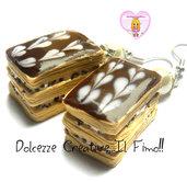Orecchini Millefoglie cioccolato e cuori - handmade - kawaii - miniature