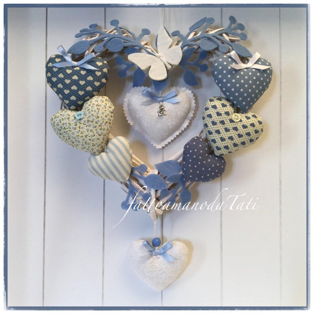 INSERZIONE RISERVATA PER VALENTINA Fiocco nascita 9 cuori nella tonalità del blu/azzurro