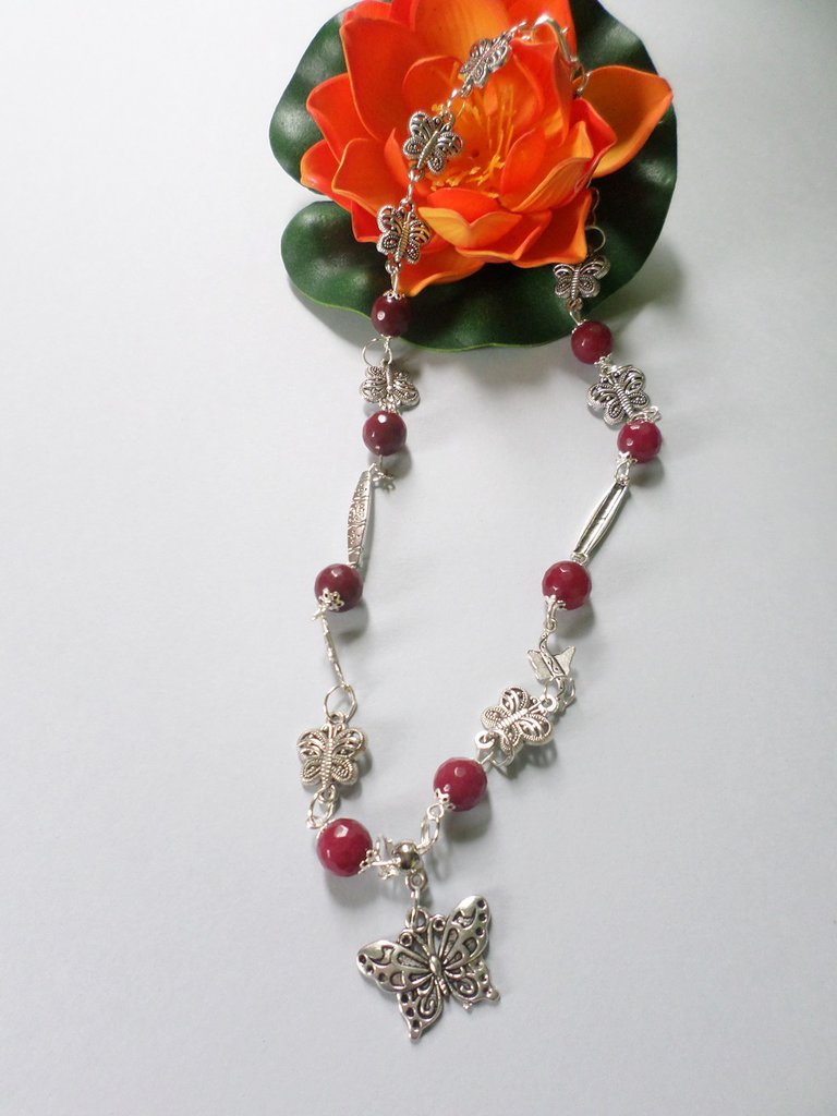 collana farfalle e radice di rubino in argentone