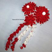 Tsumami kanzashi tradizionale colore rosso, bianco