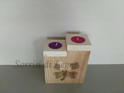 Porta candela in legno naturale con quadrifoglio