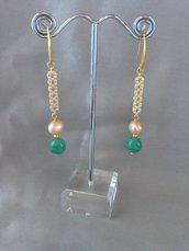 Orecchini perla naturale e amazzonite