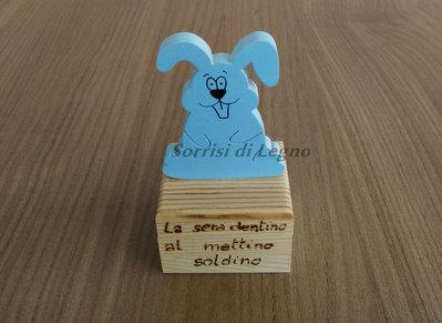 Scatola porta dentini con coniglietto azzurro