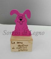 Scatola porta dentini con coniglietto rosa