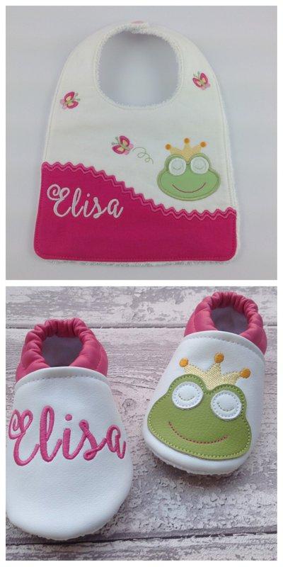 Set bavaglia e scarpine Rana personalizzato con nome