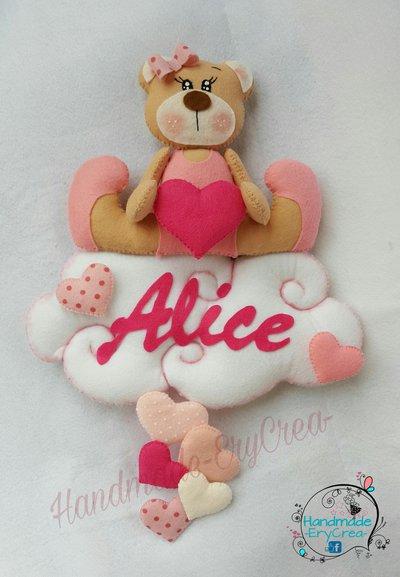 Fiocco nascita personalizzato orsetto su nuvola