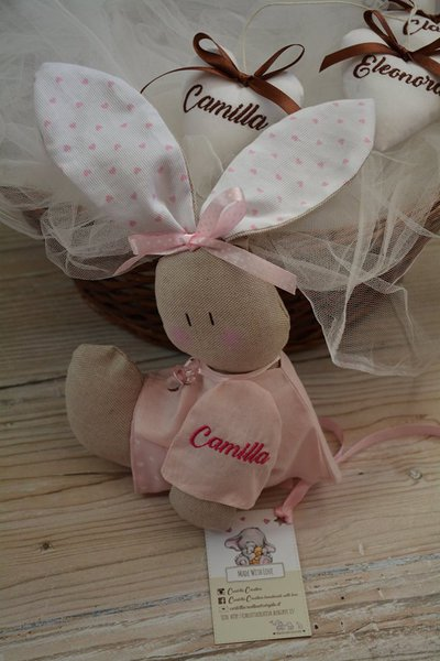 Coniglietta con NOME ricamato per Nascita / Culla / Lettino / Cameretta