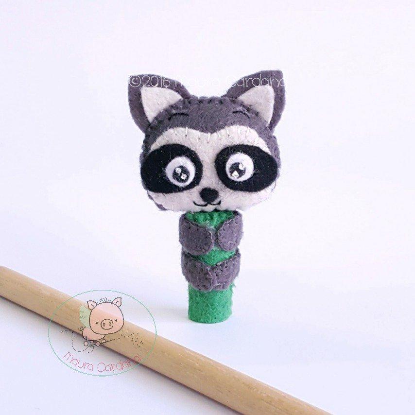 Procione pencil topper, decorazione per matita in feltro e pannolenci (matita inclusa)