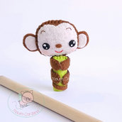 Scimmietta pencil topper, decorazione per matita in feltro e pannolenci (matita inclusa)