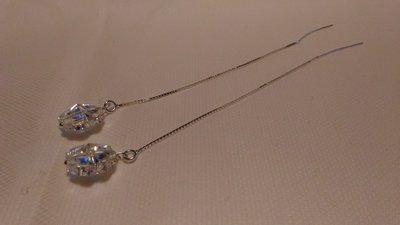Orecchini a filo con swarovski crystal ab a forma di quadrifoglio