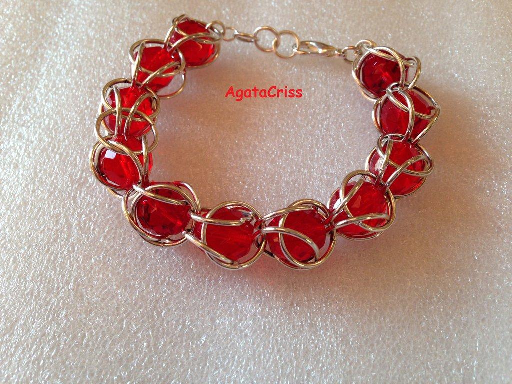 Braccialetto chainmaille cristalli rossi