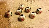 Set di 7 Perle  a foro largo in ceramica decorata