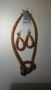 Parure collana - orecchini  SABBIA  rete cm.60