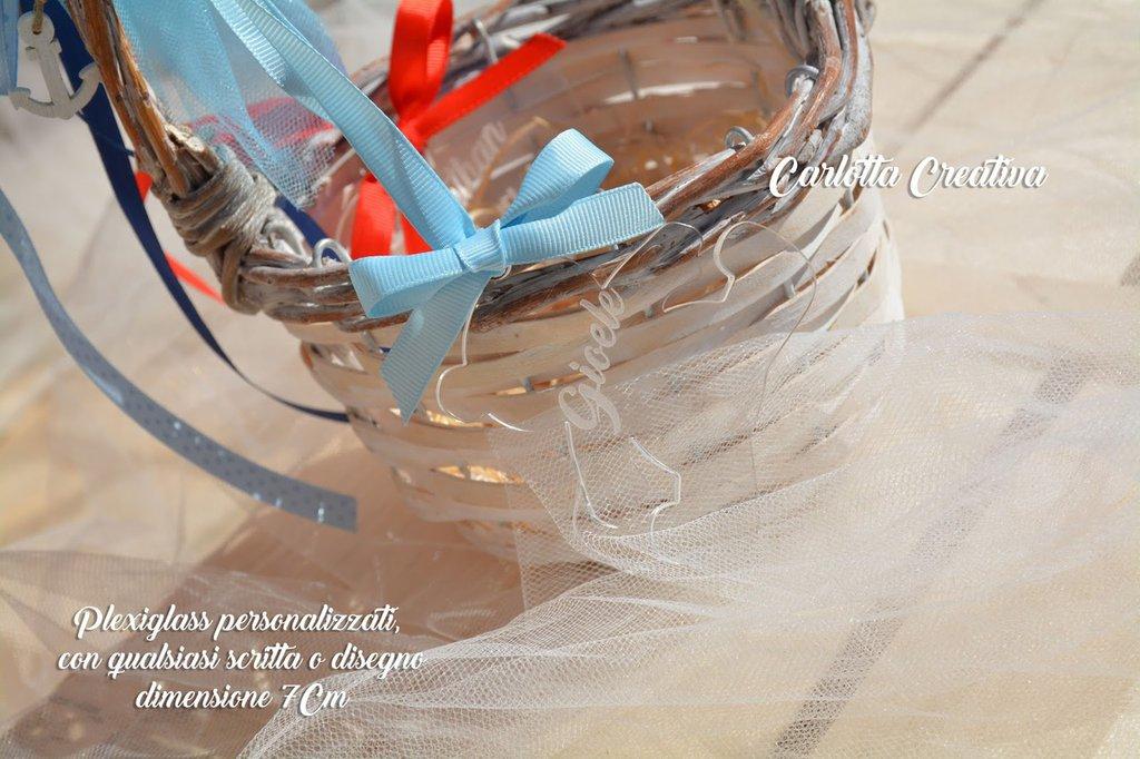 Ciondolo / Capoculla in Plexiglass di 7 cm qualsiasi Forma/ Disegno/ Scritta