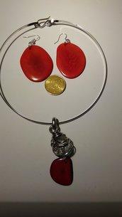 parure collier - pendenti  serie TAGUA rosso
