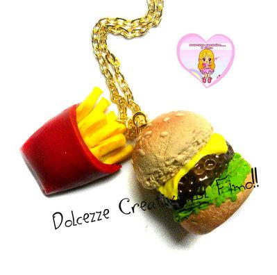 Collana Hamburger e patatine fritte - Miniature, idea regalo, kawaii, fimo