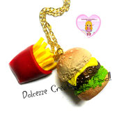 Collana Hamburger e patatine fritte - Miniature, idea regalo, kawaii, fimo